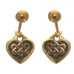 CELTIC HEART gold plated with celtic knot inset clip on earrings