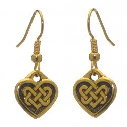 CELTIC HEART gold plated with celtic knot inset hook earrings