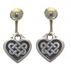 CELTIC HEART silver plated with celtic knot inset clip on earrings