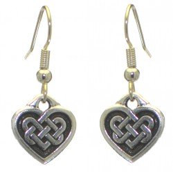 CELTIC HEART silver plated with celtic knot inset hook earrings