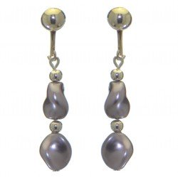 ACCALIA silver plated purple Swarovski elements wave pearl clip on earrings
