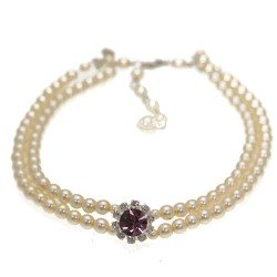 Vintage Cream faux Pearl Amethyst Crystal Choker Necklace