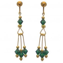 ADELHEID gold plated swarovski elements emerald green crystal drop clip on earrings