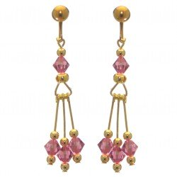 ADELHEID gold plated swarovski elements rose pink crystal clip on earrings