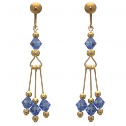 ADELHEID gold plated swarovski elements sapphire blue crystal clip on earrings