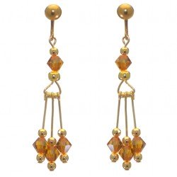 ADELHEID gold plated swarovski elements topaz yellow crystal clip on earrings