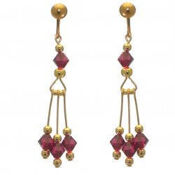 ADELHEID gold plated swarovski elements ruby red crystal clip on earrings