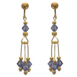 ADELHEID gold plated swarovski elements tanzanite crystal drop clip on earrings