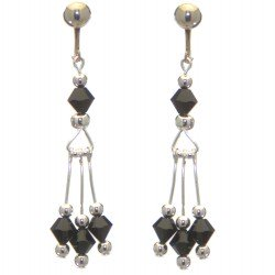 ADELHEID silver plated swarovski elements jet black crystal clip on earrings