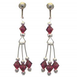 ADELHEID silver plated swarovski elements ruby red crystal clip on earrings