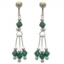 ADELHEID silver plated swarovski elements emerald green green crystal clip on earrings