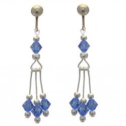 ADELHEID silver plated swarovski elements sapphire blue crystal clip on earrings