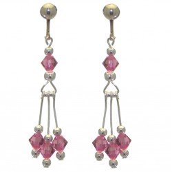 ADELHEID silver plated swarovski elements rose pink crystal clip on earrings