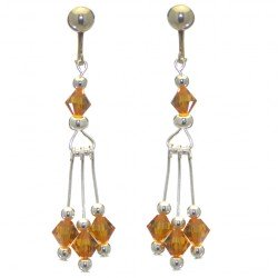 ADELHEID silver plated swarovski elements topaz yellow crystal clip on earrings