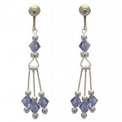 ADELHEID silver plated swarovski elements tanzanite crystal clip on earrings
