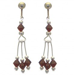 ADELHEID silver plated swarovski elements siam red crystal clip on earrings