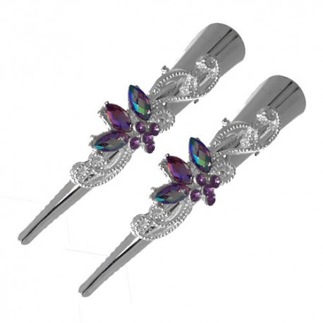 Exquisite Silver tone Pair 75mm Lilac Crystal Beak Clips