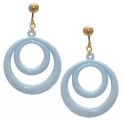 Amiela Gold plated Baby Blue Clip On Earrings