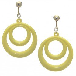 AMIELA silver plated pale yellow resin double hoop clip on earrings