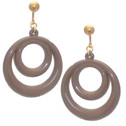 AMIELA gold plated chocolate brown resin double hoop clip on earrings