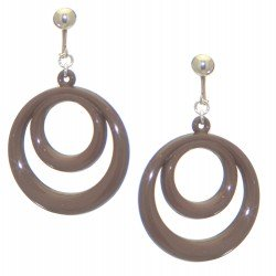 AMIELA silver plated chocolate brown resin double hoop clip on earrings