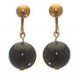 LINDA 12mm gold plated swarovski elements black crystal clip on earrings