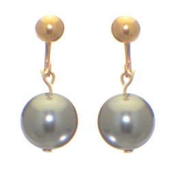 LINDA 12mm gold plated swarovski elements grey crystal clip on earrings