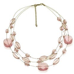 Aponi Silver tone Multi Wire Rose Pink Choker Necklace