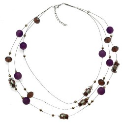 Flossie Silver tone Purple Choker Necklace