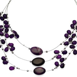 Lilith Silver tone Purple Choker Necklace