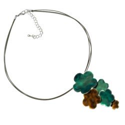 Mimosa Silver tone Turquoise Brown Multi Wire Choker Necklace