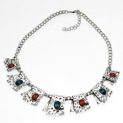 Monique Silver tone Red green Choker Necklace