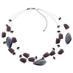 Nicolette Silver tone wire Amethyst Choker Necklace