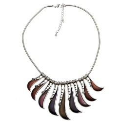 Vania Silver tone Purple Raspberry Choker Necklace