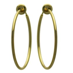 Cerceau 35mm Gold Plated Hoop Clip On Earrings