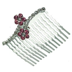 Papaver Silver tone Pink Crystal Hair Comb
