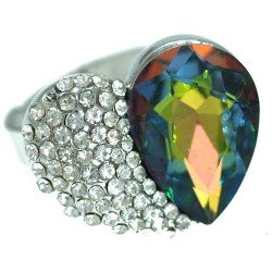 Axelle Silver tone Tourmaline Crystal Fashion Ring