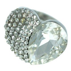 Axelle Silver tone Clear Crystal Fashion Ring