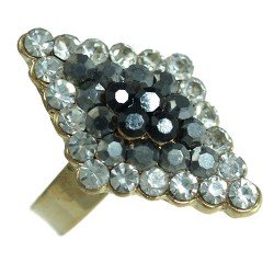 Brady Gold tone Hematite/Jet/Smoke Crystal Fashion Ring