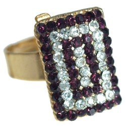 Cyndi Gold tone Amethyst Crystal Fashion Ring