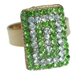 Cyndi Gold tone Peridot Green Crystal Fashion Ring