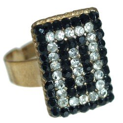 Cyndi Gold tone Jet Crystal Fashion Ring