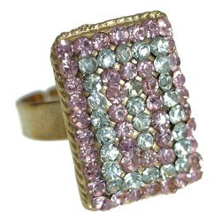 Cyndi Gold tone Pink Crystal Fashion Ring
