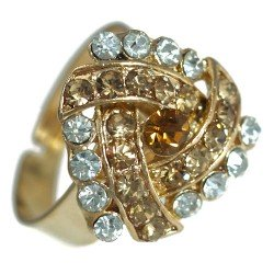 Delaine Gold tone Amber Crystal Fashion Ring