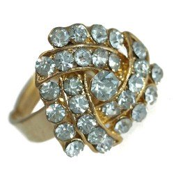 Delaine Gold tone Clear Crystal Fashion Ring