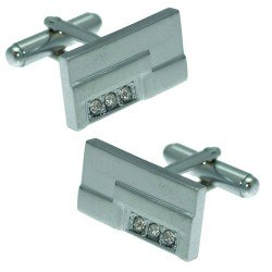 Damon DCL 0004 S Silver tone Rectangle Crystal Cufflinks