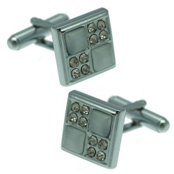 Edison ECL 0005 S Silver tone Squares Grey Crystal Cufflinks