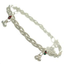 Bahula Silver tone Multi Coloured Ankle Chain