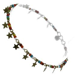 Nagina Gold tone star Multi Coloured Ankle Chain