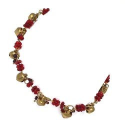 Madhubala Gold tone Red Ankle Chain